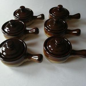 Six 70s Vintage Crock French Onion Soup Bowls